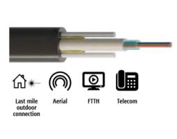Kabel, optički, zračni, 2-vlakna, 09/125um, G.652d, w/gel, provjes 70m, PE, 1300N, 8.3x4.6mm, plosnati