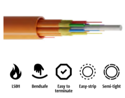 Kabel, optički, 4-vlakna, 50/125um, OM3, breakout, 4x1.8mm, LSZH unutarnji/vanjski, 2000N, 6.5mm