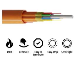 Kabel, optički, 8-vlakna, 50/125um, OM3, breakout, 8x1.8mm, LSZH unutarnji/vanjski, 2000N, 8.7mm