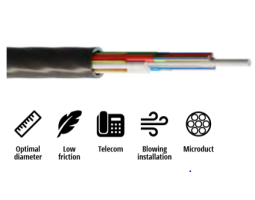 Kabel, optički, 1x8, 09/125um, G.652d, Multitube w/gel, micro-MetroJET, HDPE, 650N, 5.3mm