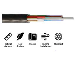Kabel, optički, 8x12, 09/125um, G.652d, Multitube w/gel, micro-MetroJET, HDPE, 1200N, 6.2mm