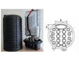Kabelska spojnica, za 16+1 kabela, okrugla, za 288 varenih spojnika,  IP68, FOSC