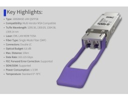 Modul, QSFP28, 100GbE-LR4, SM LC, 1310nm/10km, ATI/Cisco kompatibilan
