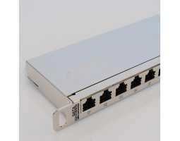 """Panel, Cat6 STP, prespojni, 24xRJ45, krimpanje Krone, 19""""-0,5U, sa nosačem kabela"""