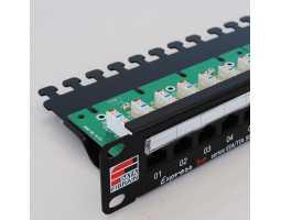 "Panel, Cat5e UTP, prespojni, 24xRJ45, krimpanje Krone, 19""-1U, sa nosačem kabela"