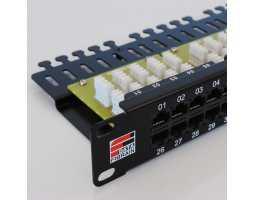 "Panel, ISDN, Cat3, 50xRJ45, krimpanje Krone, 2-parice, 19""-1U"