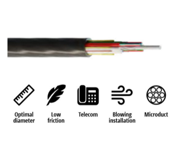 Kabel, optički, 2x4, 09/125um, G.652d, Multitube w/gel, HDPE, vanjski, micro-MetroJET, 500N, 4.2mm 4216